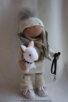 Коллекционные куклы ручной работы. Ярмарка Мастеров - ручная работа текстильная кукла Девочка с питбулем. Handmade.