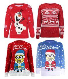 Womens Ladies Christmas Xmas Reindeer Frozen Olaf Sven Long ...