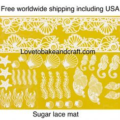 Cake lace sugar lace Seahorse mold Sea shell mold Fabulous Christmas cake lace mat Ideal for your Christmas cakes and cupcakes This silicone lace Seahorse Cake, Seashell Cake, Cake Topper Tutorial, Fondant Tutorial, Fondant Seashells, Baby Cake Topper, Cake Toppers, Cake Lace Mat, Nemo Cake