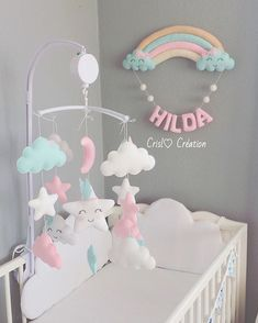 Love this but with yellow and green instead of pink and blue Baby Girl Nursery Decor, Baby Bedroom, Baby Room Decor, Nursery Room, Baby Door, Creation Deco, Baby Sewing Projects, Baby Room Design, Baby Crib Mobile