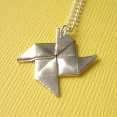 Origami Pinwheel Necklace Small Silver Pinwheel Origami Pendant Summer Necklace