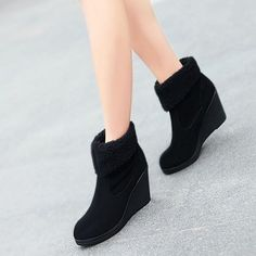 Black Thick Bottom Winter Warm Ankle Boots