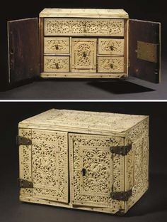 A SINHALESE CARVED IVORY CABINET      SRI LANKA, MID 17TH CENTURY      Lot Sold.  Sold at Christies for  £28,800.
