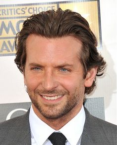 A medium brown straight slick Bradley Cooper Mens hairstyle by Celebrity Hairstyles