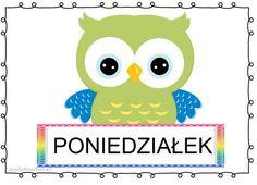 DNI TYGODNIA – plansze zestaw 1 – Przedszkolankowo Borders And Frames, Tweety, Montessori, Hand Lettering, Kindergarten, Calendar, Owl, Classroom, Children
