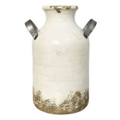 SONOMA Goods for Life™ Farmhouse Milk Can Ceramic Vase, White