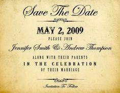 Save the date vintage / old style