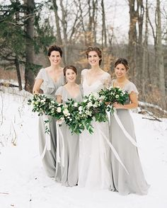 This winter wedding was so magical and these beautiful ladies were SO brave out in the snow... Totally worth it for the pictures @whenhefoundher took!