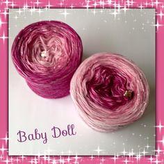 50% Baumwolle/ 50 Polyacryl, plus 1 Faden Lurex in pink, verschiedene Lauflängen und Fäden möglich