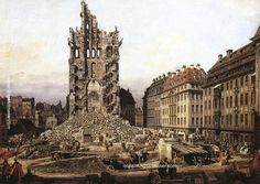 Bernardo Bellotto The Ruins of the old Kreuzkirche, Dresden, 1765 painting outlet online, painting Authorized official website