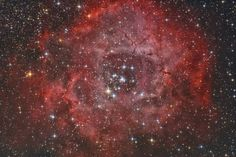 The Rosette Nebula is emission nebula and open cluster situated in the constellation of Monoceros, about 5000 light-years from Earth.