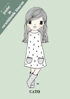 Creëer jouw eigen unieke kinderkamer poster ★ kies je favoriete illustratie ★ vul de naam in ★ kies de achtergrondkleur