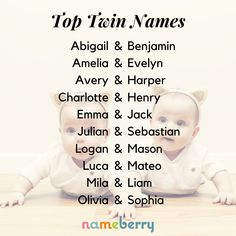 These are some of the most popular sets of names for twins today. The ideal twin names are coordinated but not matchy-matchy — names that stand well on their own and in the set. Boy Girl Twin Names, Twin Baby Names, Best Girl Names, Twin Baby Girls, Cute Baby Names, Pretty Names, Cool Kid Names, Names For Girls, Baby Baby