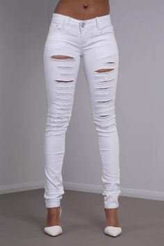 Whitney White Ripped Skinny Jeans