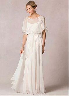 Exquisite Chiffon Bateau Neckline A-line Wedding Dresses With Lace Appliques