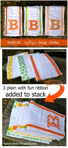 A DIY tutorial on how to sew an applique onto burp cloths. Make personalized burp cloths for any newborn using this simple sewing technique. #sewing #burpcloths #applique #giftidea Burp Cloth Tutorial, Smocking Tutorial, Diy Tutorial, Baby Burp Cloths, Burp Cloth Set, Baby Bibs, Cloth Diapers, Sewing Coat, Dress Sewing