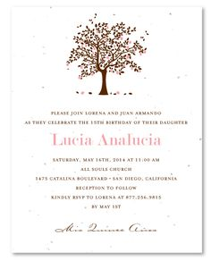 Seeded Paper Apple Tree Quinceanera Invitations