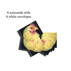 Beautiful image of a yellow chicken in profile | 6 A2 size note cards with matching 6 A2 white envelopes. Realism art. Inside Blank. | Shop this product here: http://spreesy.com/SamDoumArt/16 | Shop all of our products at http://spreesy.com/SamDoumArt    | Pinterest selling powered by Spreesy.com