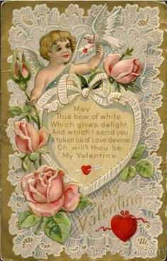 Cupid #Vintage_valentine_day card