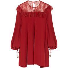 Philosophy di Lorenzo SerafiniLace-paneled Crepe Mini Dress ($435) ❤ liked on Polyvore featuring dresses, red, short loose dresses, red crepe dress, crepe dress, red dress and short dresses