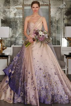 One shoulder champagne ballgown with lavender floral details | Romona Keveza Spring 2017 | https://www.theknot.com/content/romona-keveza-wedding-dresses-bridal-fashion-week-spring-2017