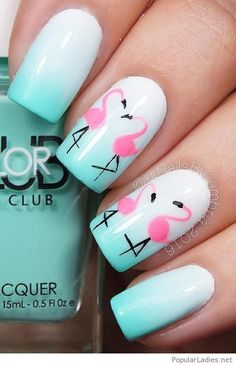 This summer it is color on the nails! You can see pelicans on all sorts of clothes – look at your nails! Summer Nail Designs / Fresh Summer Nail Designs for 2017 / Pelican Nail Art / Nail Art Ideas / Summer Nail Art Ideas Best Nail Art Designs, Acrylic Nail Designs, Summer Nail Designs, Tropical Nail Designs, Trendy Nails, Cute Nails, Diy Ongles, Nails Kylie Jenner, Bright Summer Nails
