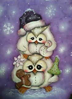 US Seller Sweet Christmas Owls Holiday Diamond Painting Kit Full Drill. by OurCraftAddictions Arte Country, Pintura Country, Illustration Noel, Illustrations, Whimsical Owl, Owl Pictures, Owl Always Love You, Christmas Owls, Beautiful Owl