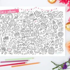 set de table mariage à colorier