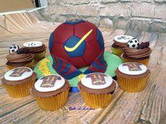 Barcelona football cake & cupcakes by Cake-D-Licious