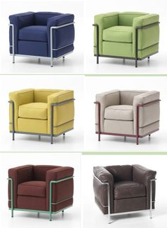 Corbusier colors Cool Furniture, Modern Furniture, Furniture Design, Furniture Ideas, Bauhaus, Flat Interior, Single Sofa, Glass Dining Table, Woodworking Projects Diy