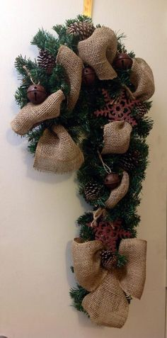 Primitive Country Christmas Wreath by TammysFlowersandmore on Etsy, $45.00