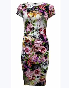 CELEBRITY INSPIRED CAP SLEEVED FLORAL PRINT RUCHED SIDE MIDI DRESS PURPLE £ 14.95