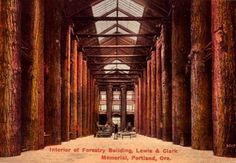 The Forestry Building of the Lewis and Clark Centennial Exposition in 1905, Portland, Oregon, by architect A. E. Doyle, the building burnt down in 1964