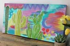 Cactus Splash - Original abstract artwork / Cactus canvas painting / cactus garden / painting / artwork / art / pastels / bright painting by OneOfAHandmadeKind on Etsy