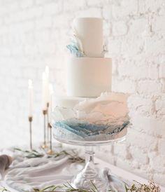 White and baby blue ruffle wedding cake | Natalie DeHaven Cakes Crazy Wedding Cakes, Summer Wedding Cakes, Fondant Wedding Cakes, Themed Wedding Cakes, Beautiful Wedding Cakes, Wedding Cupcakes, Wedding Cake Toppers, Blue Wedding, Wedding Things