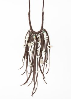 Brown Leather Fringe Necklace with Shells by SoulMakes