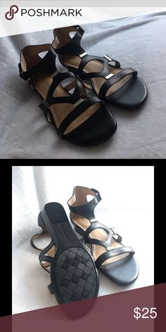 NWOTs ~ Naturalizer Sandals Size 8 NWOTs ~ Naturalizer Sandals Size 8. Style N5 Comfort. Bought for a beach themed wedding but decided to wear my bare feet instead. These aren't really my style but they may be yours. Genuine leather upper man made soles. Metal embellishments with a Velcro ankle adjuster. 🚫TRADES🚫🅿️🅿️ Reasonable offers considered. Naturalizer Shoes Sandals