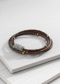 Leather Wrap Bracelet | Material: Brass, Leather, Sterling Silver