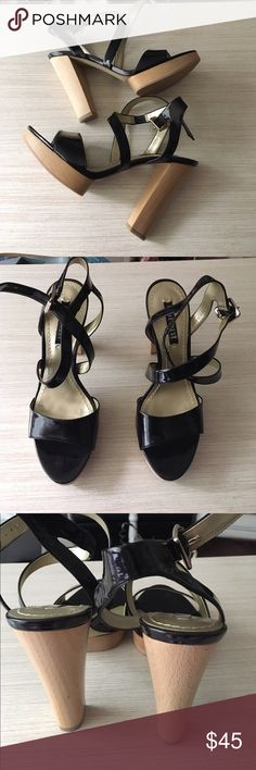 New Nine West Black Sandals New. Never worn. Heel height is approx 4 inches. Platform is approx 1 inch Nine West Shoes Sandals