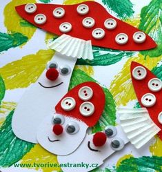 Muchomůrky knoflíčkové / Toadstools with buttons Autumn Crafts, Nature Crafts, Spring Crafts, Christmas Crafts, Diy And Crafts, Arts And Crafts, Paper Crafts, Diy For Kids, Crafts For Kids