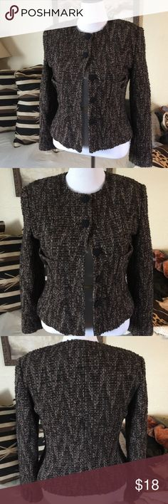 Heavy fitted tweed cropped jacket Jacket is lined. Well made piece, with padded shoulders for shape. Looks great with browns, black, tans and grays. Made in USA. Barami Jackets & Coats Blazers
