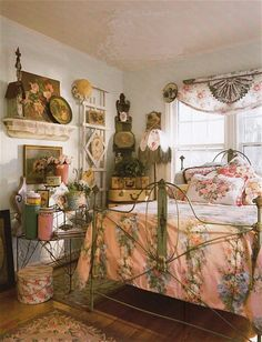 """Beautifully decorated setting to blend with this """"Art Panel"""" bed and it's original finish from the mid 1800's. Art Panel beds with their original finish have become extremely rare. Most beds from that era have been painted over numerous  times, obscuring the original art on the panels."""