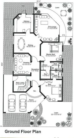 Single Storey House Plans, Narrow House Plans, Two Story House Plans, House Layout Plans, House Layouts, House Floor Design, Home Design Floor Plans, Bungalow House Design, Little House Plans