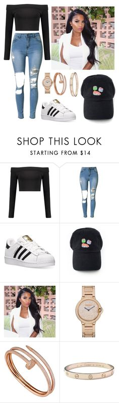 """""""❤️❤️❤️"""" by victoriamajors ❤ liked on Polyvore featuring Boohoo, adidas and Cartier"""