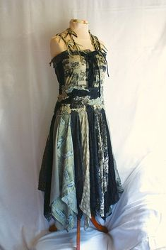 Fairy Tattered Dress  Size M L Medium Large Upcycled Clothing Romantic Black and Dark Olive Funky Style Shabby Chic Eco Friendly Style via Etsy
