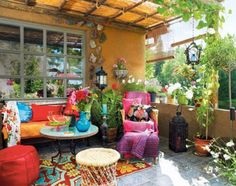 Beautiful Groovy and Stunning Patio Decoration with Colorful Ornaments