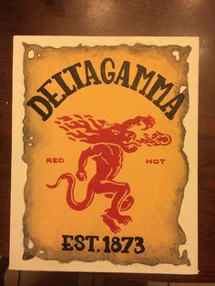 Delta gamma sorority canvas DIY craft. Fireball whiskey