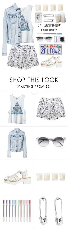 """""""I hate reality"""" by lolxbye ❤ liked on Polyvore featuring Emma Cook, Zara, Prism, Samsung, Shabby Chic, Muji, Disney Couture and CASSETTE"""