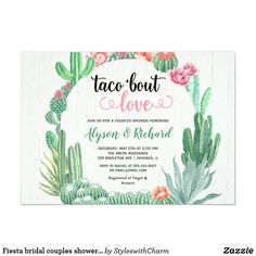 Home Interior Warm Fiesta bridal couples shower Taco bout love Invitation.Home Interior Warm Fiesta bridal couples shower Taco bout love Invitation My Bridal Shower, Baby Shower Invites For Girl, Girl Shower, Bride Shower, Zazzle Invitations, Bridal Shower Invitations, Baby Cactus, Texture Web, Couples Baby Showers