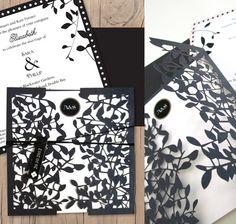Leafy affair wedding invitation laser cut - lilykiss